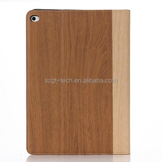 cherry Wooden grain Leather Stand Cover for iPad air 9.7, for iPad air2 tablet Case