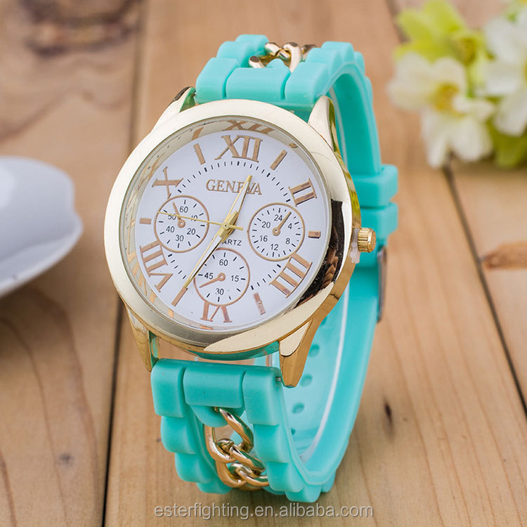 SW002 Gold Alloy Unisex Geneva Quartz Custom Made Silicone Watches
