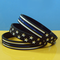 debossed and color filled silicon wristband, usa flag silicone bracelets, blue lives matter silicone wristbands