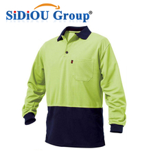 100% cotton mens long sleeve polo shirt with pocket