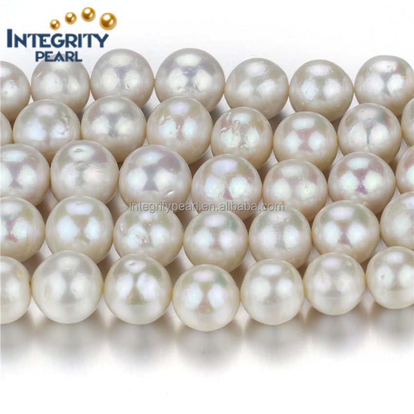 12mm AA- natural freshwater white round loose edison bulk pearl beads
