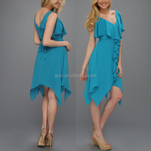 Hot sale lovely ruffle design fashion asymmetrical hemline frilly lady frock dress