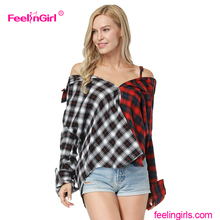 China Manufacturers Stylish Check Pattern Spaghetti Design Ladies Long Tops Off Shoulder Top