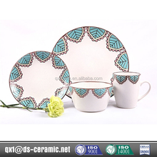 Low Cost High Quality 16 piece dinnerware sets circle edge dots