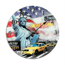 Cities of the World Glass Clock New York London Design