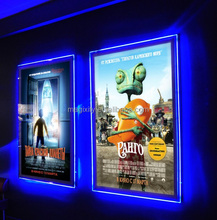 Home Theater Wall Mounted Slim Acrylic Frameless LED illuminated Movie Poster Frame Advertising Lightbox for Cinema