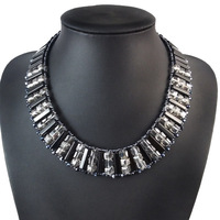 Fashionable Handmade Crystal Chunky Necklace Black