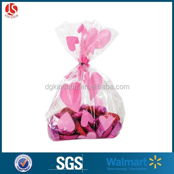 2015 Valentine pack of 20 print cute die cut cellophane cookie bag for hot sale