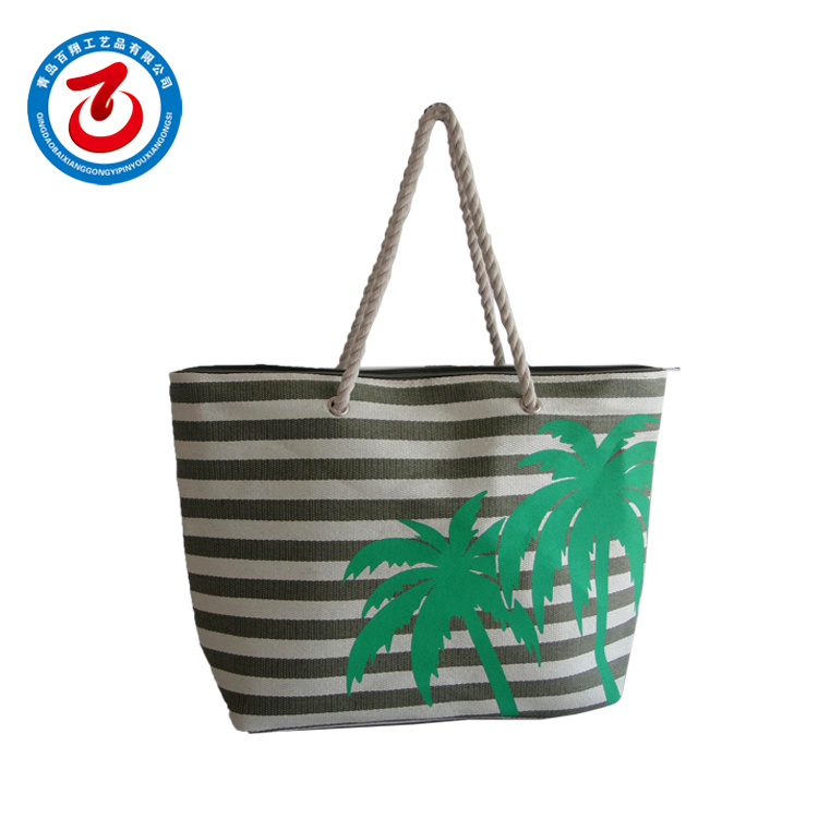 High Quality China Factory Supply Directly Custom Beach Bag With Black Stripes