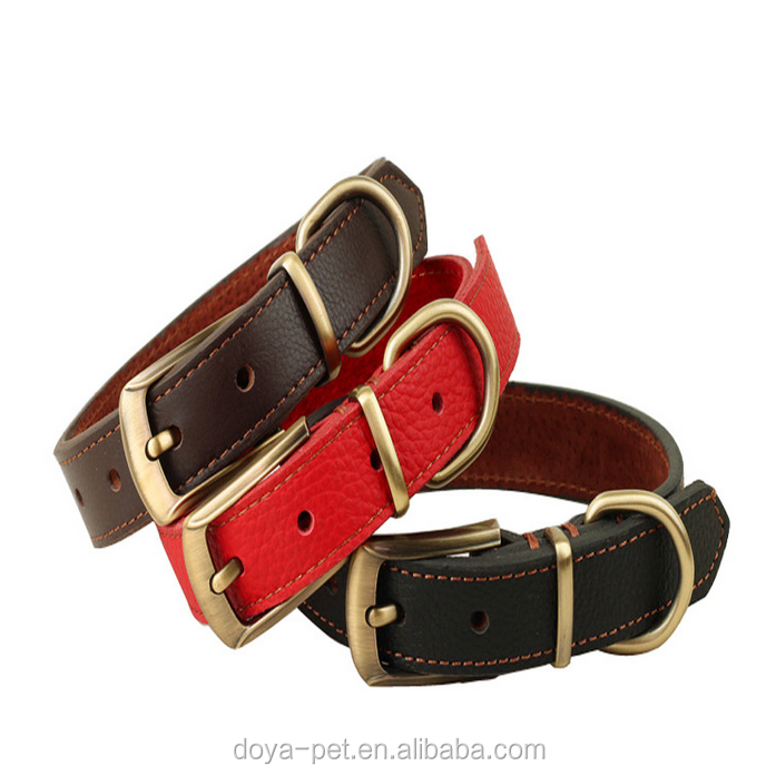 High Quality Wholesale Custom Logo Durable Real Leather Pet Collar for dogs