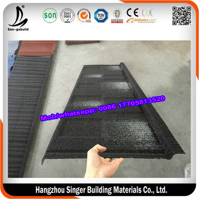 Double Color Flat Stone Coated Roof Tile , Jump Color Wood Shingle Roofing