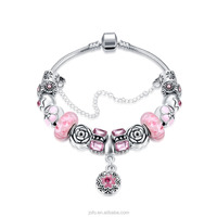 Wholesale Pink European Vintage Style 925 Sterling Silver Snake Chain Glass Bead Bracelet