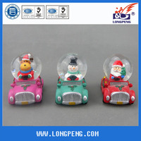 Polyresin christmas snowman snow globe ,christmas santa&reindeer&penguin on the car,christmas snow globe for tabe top decor