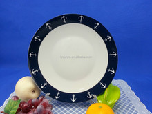 wholesale high grade ceramic dinnerware porcelain moonlight flat plate with beautiful decal