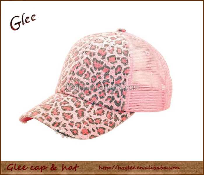 Ladies Leopard Print Mesh Canvas Baseball Cap Trucker Hat
