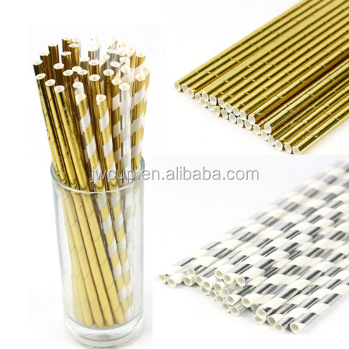 Biodegradable Gold Silver Drinking Paper Straws Striped Party Birthday Wedding