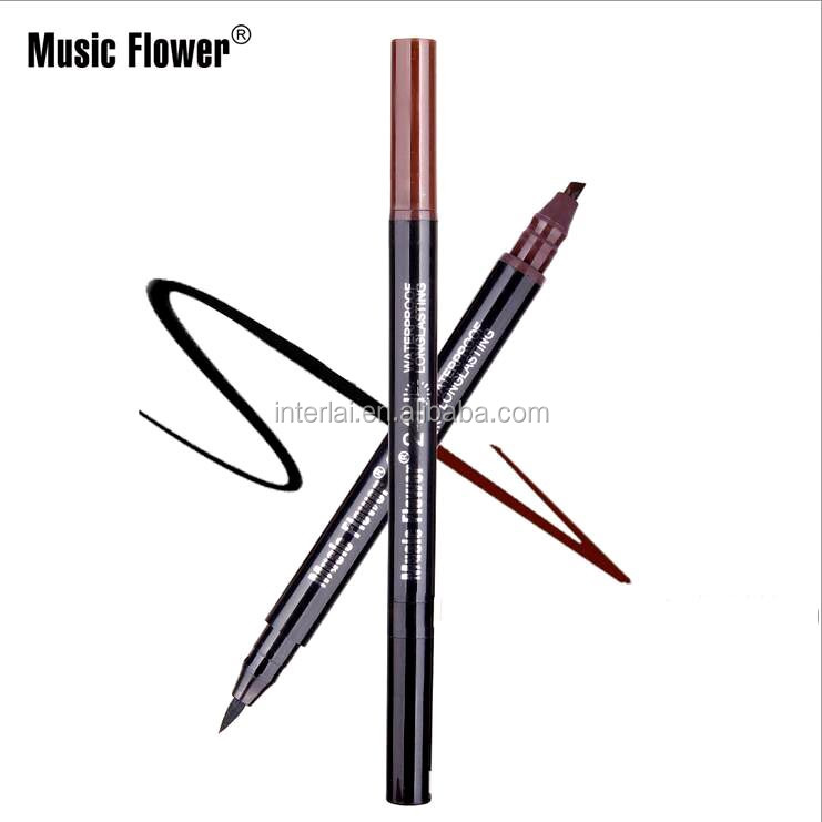Hot Sale Brand Music Flower 2In1 Double-end Perfect Modified Eyebrow &liquid Eyeliner Cosmetic Waterproof Soft Fine Eye Line Pen
