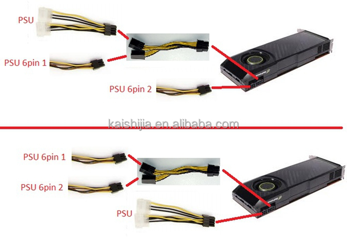 High Quality Dual Molex To 6 Pin Pci E Power Graphics Card