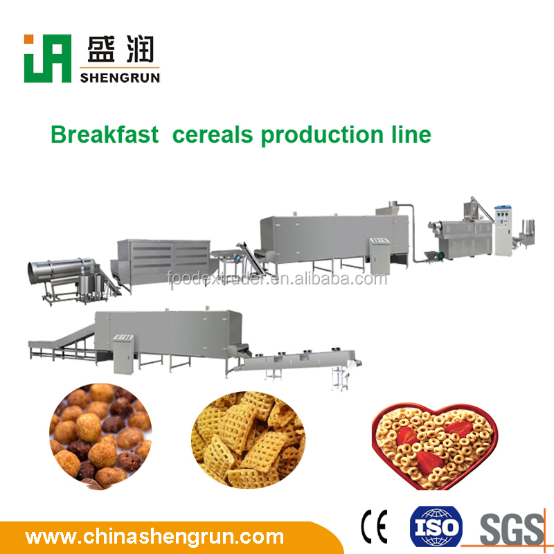 Choco cups/rings/stars breakfast cereals food factory machine