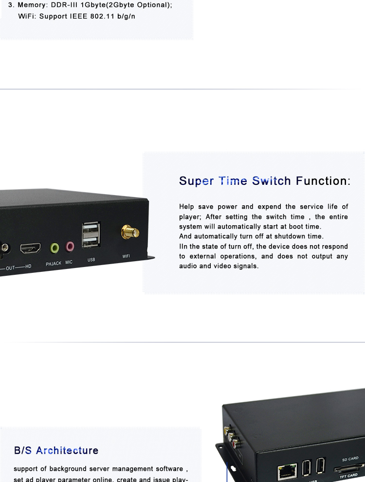 Time switch content management system portable digital signage usb network media player android box