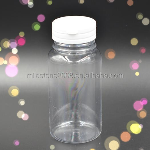 Transparent Long Pill Bottle with Screwed in Cap Candy Container
