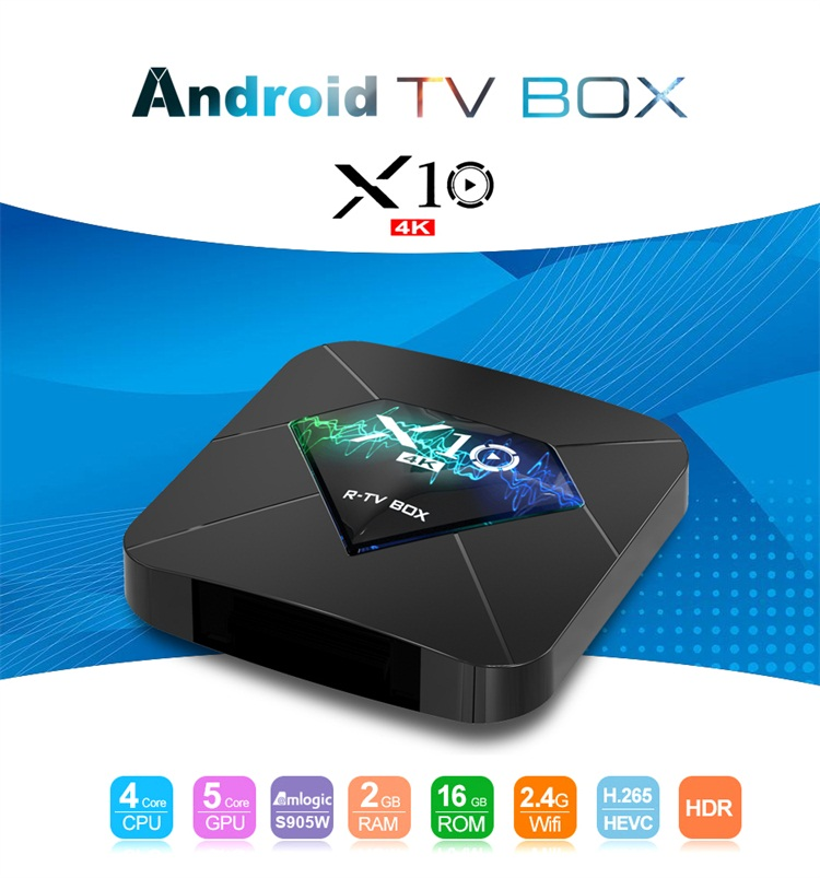 Fast delivery X10  4 core Amlogic S905W 2gb ram 16gb rom smart android tv setup box 4k