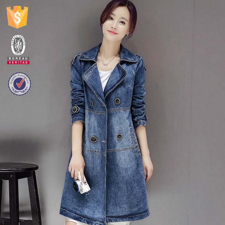 Winter trendy long hooded casual faded denim style trench coat cheap winter jackets