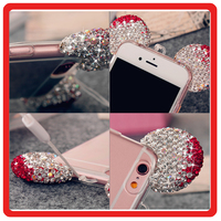 Fashion Design cartoon Ears Rhinestone tpu mobile phone case cover for iphone 6 6s plus