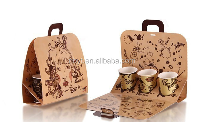 factory directly sale custom kraft paper cup drink Carriers with handle from alibaba china supplier