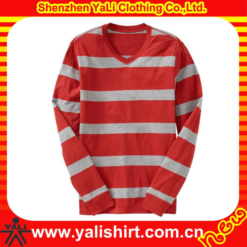 2013 high quality fashion soft cotton loose v-neck long sleeve men red white striped tshirt
