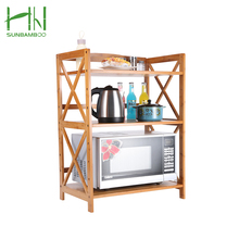 Accessories 3 Tier kitchen Room Furtinure Mutifuctional Bamboo Storage Shelf Microwave Oven Rack