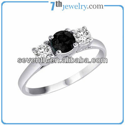 Sapphire Center Stone Finger Ring Blue Diamond Rings High Quality Wholesale Brazilian Fake White Gold Jewelry
