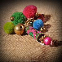 National Handmade Colored Beads Plush line Keychain Cloth Bag Hanging Keyring Gift Ethnic Vintage Car ornaments Jewelry