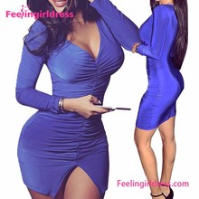 Eye Catching Jauh V Neck Berpisah Hem Hot Klub Bodycon Gaun