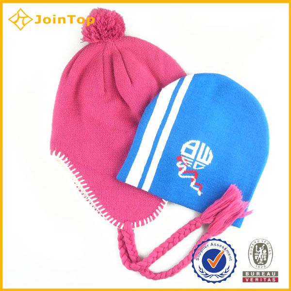Highn quality custom made earflaps beanie winter hat with visor
