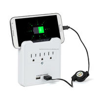 smart phone cradle 2 AC Outlet Wall Mount Plate Surge Protector with 2 USB Charger wall tap