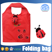 OEM factory direct suppy lady beetle foldable shopping bag 190T polyester cheap