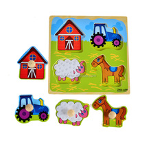 Cartoon Grab Peg Knob wooden peg puzzle