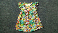 cute pearl milk silk dress for kids latest western cartoon print frock design in summer