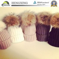 Ladies real fur raccoon pom pom winter skiing hat beanie wool