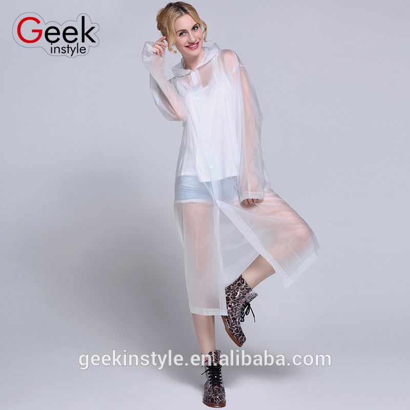 2016 New Fashion 4 Colors Transparent Disposable EVA Plastic hooded rain suit