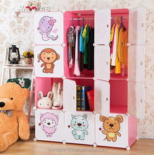 Cartoon animals printed kids wardrobe cabinet/ baby cupboard