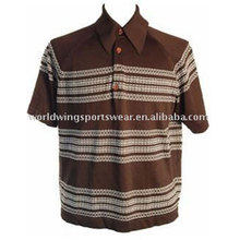 Mens cotton striped brown Polo Shirt
