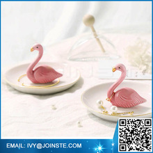 Adorable Ceramic Jewelry Ring Holder Small Rack Rings Chain Bracelets Earrings Trays (Flamingos)