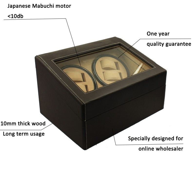 4+6 Leather Mabuchi Motor Dual Automatic Watch Winder With Rohs