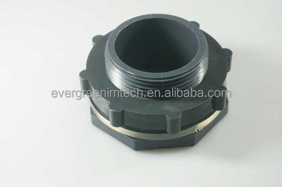 Heavy duty inch pvc plastic bulkhead fitting for aquarium
