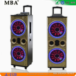 Big power dual 12 inch bass speaker with trolley wheels , speaker subwoofer, outdoor and stage speaker