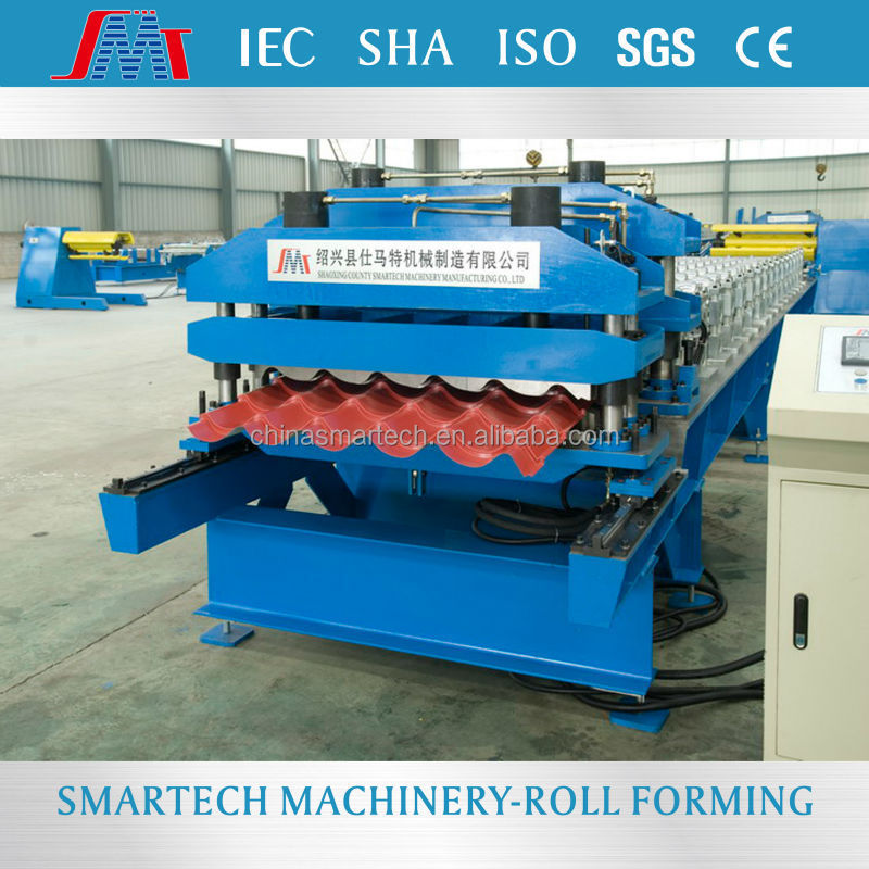 Metal glaze tile roll forming machine , Roof tile roll forming machine