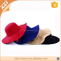 Big Bow Sunhat Wide Brim Floppy Hat Common Fabric Feature and Female Gender Fake Wool Floppy Felt Hat