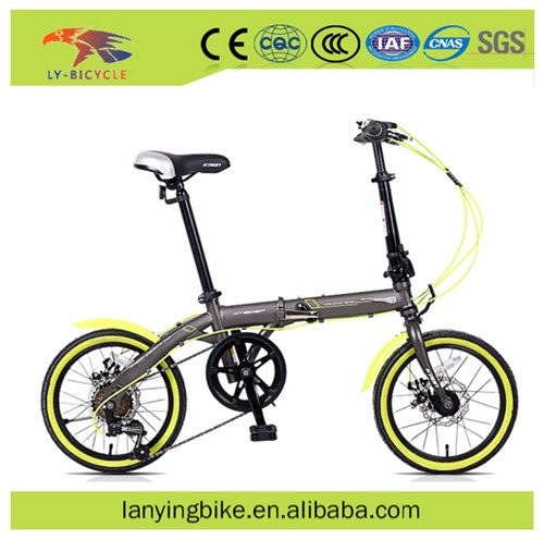 6 speed lightweight cheap folding bikes / 16 inch Steel fork material folding bicycle